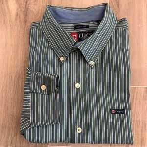 Chaps Size 3XT Easy Care Green Blue Striped Shirt